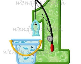 Gone fishing birthday applique number 1 machine embroidery design