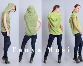 Double-sided yoga vest hoodie for women Green sleeveless top Wool sweater vest High neck sleeveless vest Knit hooded vest Yoga clothes