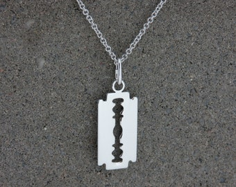 Personalised Silver Razor Blade Pendant Necklace - Free Engraving