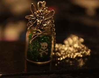 Green fairy. Absinthe themed Steampunk Victoriana tiny bottle necklace.