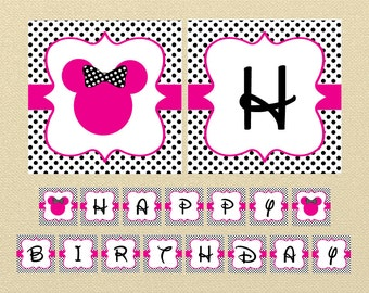 Gold Minnie Mouse Banner Happy Birthday Banner Minnie Mouse