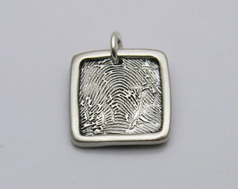 Father's Day Men's Fingerprint Jewelry, Fingerprint Jewelry, Square Fingerprint Charm, Personalized Charm, Silver Square Fingerprint for Men