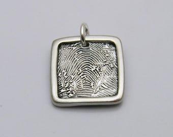 Men's Fingerprint Jewelry, Fingerprint Jewelry, Square Fingerprint Charm, Personalized Charm, Silver Square Fingerprint, Fingerprint for Men