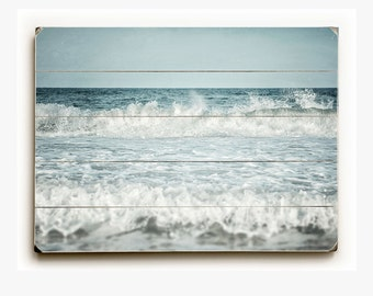 Wood Plank Sign: Ocean Spray Wood Plank, Beach Decor, Coastal Decor, Ocean Art, Ocean Print, Blue Water, Aqua, Turquoise.