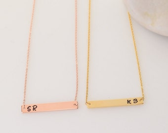 Personalized Jewelry, Gold Jewelry, Rose Gold Necklace, Gold Bar Jewelry, Bar Necklace