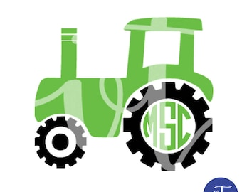 Personalized Tractor with Circle Monogram; Vinyl Decal