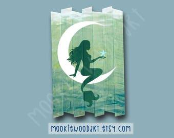 Mermaid Moon Fantasy Fine Art Painting on Reclaimed  Wood - Siren - sea fairy - sea nymph - sirens of titan