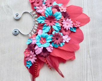 Frida Feather Ear Wrap in Red with Flowers