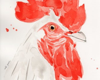 White Rooster, Original watercolor