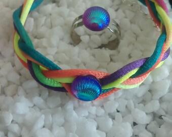 Rainbow Braid Bracelet & Ring