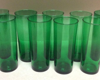 Vintage Forest Green  Water  Juice Tumblers Set Of 9