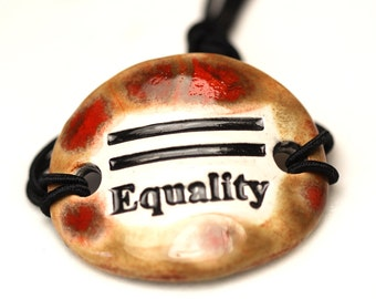 Equality Ceramic Bracelet in Red and Brown