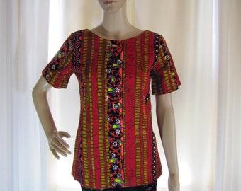 1970's Hawaiian Barkcloth Top, Small, Barkcloth, Floral, Abstract, Red, Hawaiin, Hawaii, Hawaiian, Tunic, Resort Wear, Short Sleeve, 70's