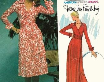ON SALE Vintage 1970s Front Wrap Dress Deep V Neck Sewing Pattern Vogue 1549 Designer Diane Von Furstenberg 70s American Hustle Easy Vogue S
