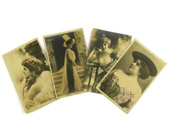 Antique French Actress Postcards. Reutlinger Postcard Set. Romantic French Vintage Woman Portrait Postcards.