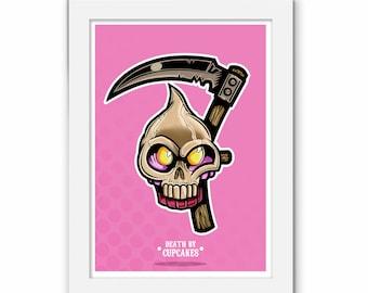 Death By Cupcakes Pink Print, Cute Cakes, Cartoon Illustration Food, Cupcake Skull