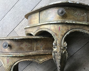Pair of Florentine style console shelves