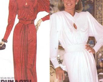1980s Linda Evans Dynasty Womens Cocktail or Evening Dress McCalls Sewing Pattern 9240 Size 10 Bust 32 1/2 UnCut Nolan Miller