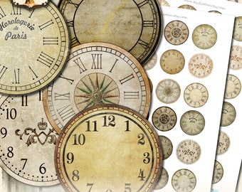 VINTAGE CLOCK 1.5 inch circle printable clock face - grunge dirty antique for pendant magnet and craft instant download diy - tn540