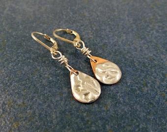 Tiny teardrop flower earrings, copper, solder stamped