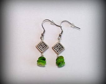 Celtic diamond earrings - Holy Trinity Green shell beads