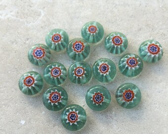 Milliefiori Beads, 15 loose beads, 10mm