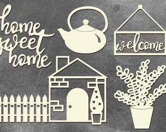 Home Sweet Home Set of Chipboards for mixmedia scrapbooking