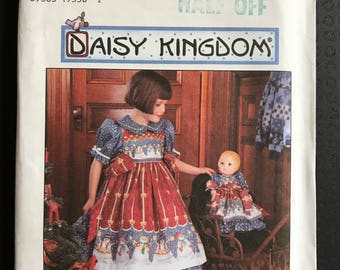 """Simplicity 7303 - Daisy Kingdom Girl's Dress with Ruffled Skirt and Pinafore with Matching Doll Outfit - Size 5 6 7 8 and 17"""" Dolls"""