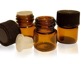 24 Pack; 1/4 Dram Essential Oil Sample Bottles