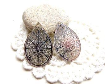 4 21x17mm silver Teardrop filigree pendants