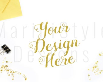 Gold Styled Desktop Mockup, Styled Stock Photography, Stock image, Stock Photo, Gold Styled Office Desk Mock up, Stationery, Flat lay, 422