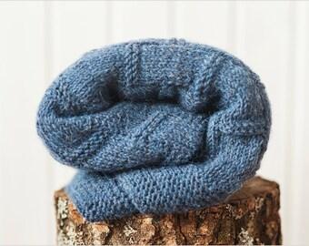 Alpaca baby blanket, Hand knit baby blanket, Hand knitted blanket, Knitted baby blankets, Blue kids blanket , Baby shower gift