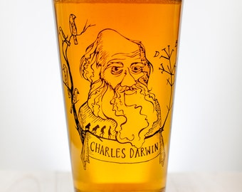 Charles Darwin Beer Glass | Scientist Pint Glass, Evolution, Naturalist Biology Ecology, Graduation, Man Gift, Woman Gift, Nature Ecologist