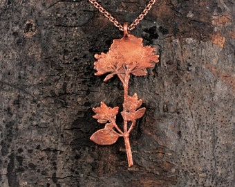 Electroformed Real Pressed Flowers Copper Necklace K24