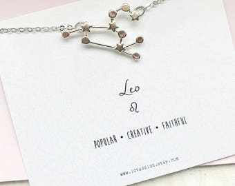 Leo Necklace, leo constellation necklace, silver leo necklace, constellation necklace, astrology sign necklace, zodiac jewelry, silver