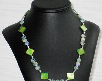 Green Mother of Pearl and Millefiori Disc Necklace