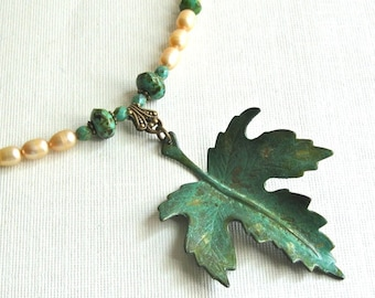Maple Leaf Necklace - Verdigris Patina, Pearl, Beaded Necklace, Patina Jewelry