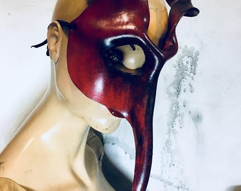 Melchom Molded Leather Mask Red/Black Masquerade
