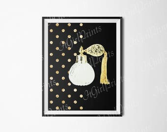 Parfum gold and black poster Fashion digital print Sparkle confetti perfume wall art Instant download