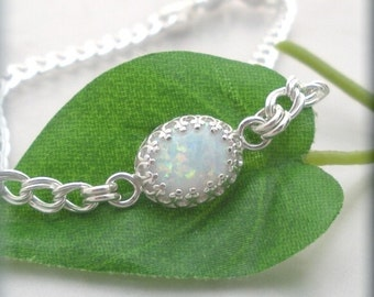 Opal Bracelet October Birthstone Sterling Silver Chain Cabochon White Opal Jewelry Bridal Bridesmaid