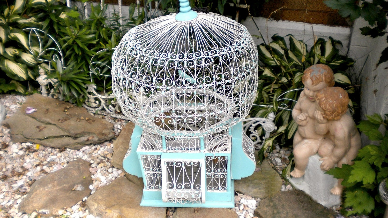 Huge Antique French Hot Air Balloon Wire Birdcage Rustic