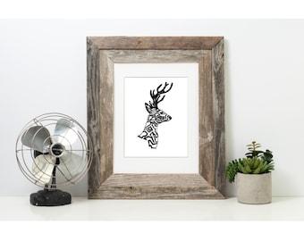 Deer Art, Woodland Animal Print, Illustration Print, Wall  Art Print, Pen and Ink Art Print, Black and White Art, Ink Art, 8 x 10 Print, Art