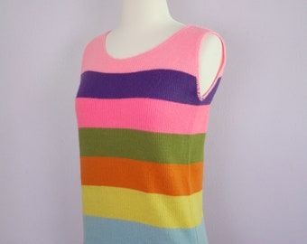 Vintage 1960's Stripe Sweater Tank Top S