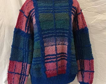 Vintage Paititi Woolens Co. Color Block Women's Chunky Sweater 1990's