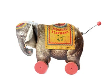 Vintage Fisher Price Wood Musical Elephant