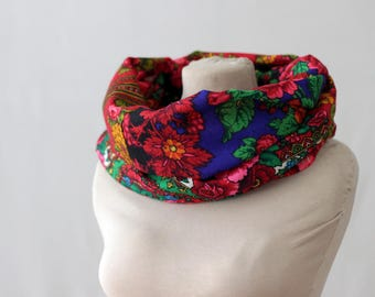 red infinity scarf, floral wool scarf, Russian scarf, maroon scarf, berry scarf, Russian shawl, cherry grape paisley, botanical scarf, 160