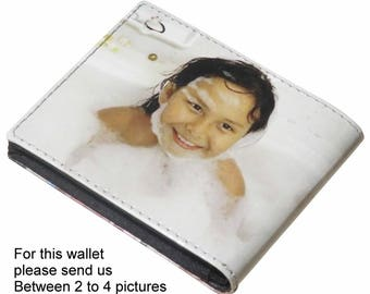 Personalized SMALL wallet for men with your own choice of pictures - FREE SHIPPING - gift gifts for dad boyfriend man custom wallet purse