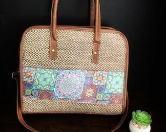 Jute Bag/ Mexican Bag/ Bohemian Bag/ Organic Purse/ Leather Bag /Boho Bag/ Jute Handbag/
