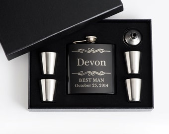 8, Personalized Groomsmen Gift, Engraved Flask Set, Engraved Flasks, Personalized Best Man Gift, 8 Flask Sets