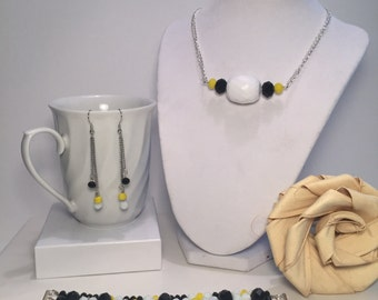 Sets- Yellow Black & White Silver Jewelry Set